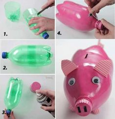 DIY plastic bottle medusas – This is a very easy craft and good toy for little children. You have to use only a plastic bottle to make it. source Home made piggy bank I love this idea! This piggy bank is made of plastic bottle. Reuse Plastic Bottles, Plastic Bottle Crafts, Recycled Bottles, Plastic Recycling, Pop Bottle Crafts, Empty Bottles, Water Bottles, Pig Crafts, Fun Diy Crafts