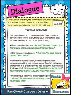 Free Writing Mini Lesson 20- Dialogue- Blog Post- Great lesson plans on how to teach dialogue! Mentor Text included along with a fun song!  Designed by Rockin Resources