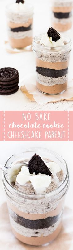 No bake chocolate cookie cheesecake parfait is a delectable dessert with layers of chocolate goodness. Quick and easy to make, this individually sized dessert is perfect for summer entertaining!