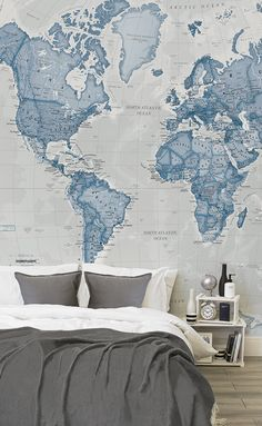 Doze off under soft neutrals with this map wallpaper. Calming blues come together to illustrate an entire world of blue. Match with soft greys and white for an overall tranquil effect that's perfect for the bedroom.