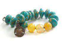 Mosaic Blue Turquoise Bracelet Semiprecious by JillianDesigns4u, $37.00