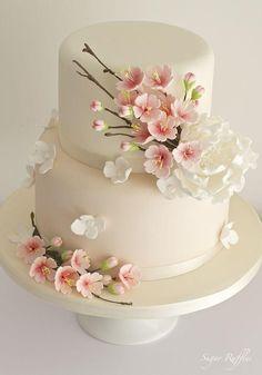 Cherry Blossom cake by janell - Hochzeitstorte - Cake Design Elegant Wedding Cakes, Elegant Cakes, Beautiful Wedding Cakes, Gorgeous Cakes, Wedding Cake Designs, Pretty Cakes, Amazing Cakes, Japanese Wedding Cakes, Trendy Wedding