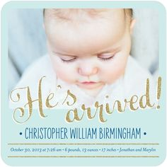 Dazzling Arrival: Lightest Turquoise - Boy Photo Birth Announcements in Lightest Turquoise | Petite Alma