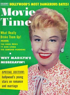 Doris Day on the cover of Movie Time magazine, October 1955.    theniftyfifties.tumblr.com