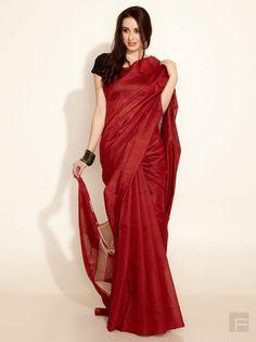 Color combo idea: Maroon with gold or black blouse. Tussar Woven Temple Pallu Sari - Fabindia Sarees for indian woman
