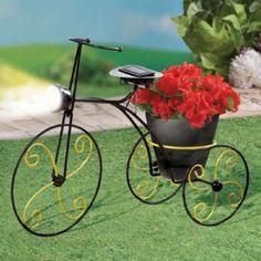 Bicycle Garden Planter Solar Patio Decor Basket Outdoor Planter Decorative New  #Unbranded