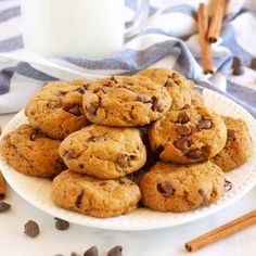These Pumpkin Spice Chocolate Chip Cookies are perfectly soft and chewy, full of pumpkin and spice and delicious chocolate!