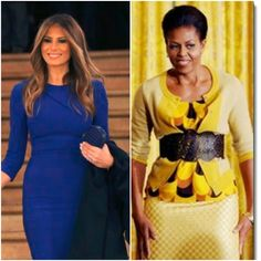 """Melania Trump, incoming First Lady. Michelle Obama, outgoing First Lady. Hooray! American women won't have to continue to pretend that Michelle Obama's BOOB BELTS and TOO-SMALL CARDIGAN SWEATERS make her a """"fashion icon!"""" Were her stylists afraid to tell her the truth of how awful her fashion choices made her look?! They certainly did her no favors."""