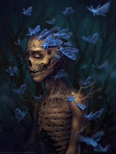 Moth Monster – horror/fantasy art by Alexandra Schastlivaya