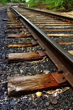 playing on the railroad tracks, placing pennies on the track and waiting for the train to go by and smash them.We had a train track/bridge in our back yard! By Train, Train Tracks, Old Trains, Orient Express, Steam Locomotive, Railroad Tracks, Railroad Ties, Belle Photo, Destinations