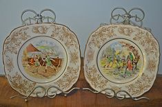 Robin Hood Plates, John Maddock & Sons Ltd, Royal Ivory, Collector's Plates by Collectitorium on Etsy Robin, Vintage Plates, Brown Beige, The Collector, Sons, My Etsy Shop, Ivory, Hand Painted, Stamp