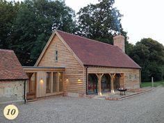 24 Ideas Farmhouse Design Plans Cabin For 2019 – FarmHouse 2020 Extension Veranda, Cottage Extension, House Extension Design, Barn Conversion Exterior, Barn House Conversion, Oak Cladding, House Cladding, Plan Garage, Garage Extension