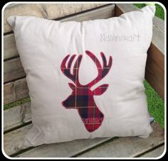 1 x x Cotton Canvas Cushion with Burgundy Tartan Stag Head Applique by Nairncraft on Etsy plus P&P Machine Applique, Free Machine Embroidery Designs, Fat Quarter Quilt, Scottish Gifts, Knitting Patterns Free, Free Knitting, Vintage Sheets, Wool Fabric, Inspirational Gifts
