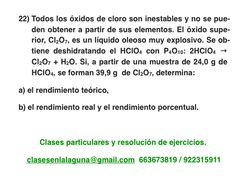 Ejercicio 22. Tema: Rendimiento (reacciones químicas)