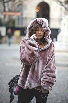 Oversized velvet millennial pink hoodie