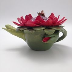 'Flower Pot' Teapot. Functional. By Tanya Bechara~ Hop'n Frog Pottery
