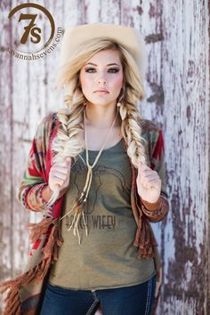 """- """"Ranch Wifey"""" graphic tank - Steer head graphic - Olive tri-blend fabric - Fitted thru the bust with a slightly flowy fit - Size XSmall fits 0-3 - Model is 5'7"""" size 4 wearing the Small - Shown styl"""