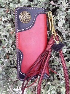 Handmade Genuine Leather Biker Men's Long Wallet with Braided leather brass by RaakHandcraft on Etsy