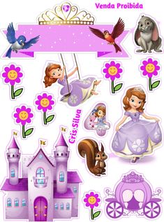 Princess Cupcake Toppers, Cupcake Toppers Free, Princess Cupcakes, Birthday Cake Toppers, Princess Sofia Cake, Princess Sofia Birthday, Sofia The First Cartoon, Sofia The First Birthday Cake, Happy Birthday