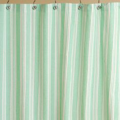 Mint Stripe Cotton Shower Curtain