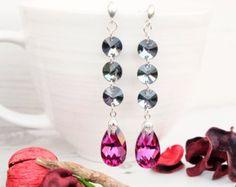 Small Swarovski Earrings-Round Crystal-Pink by MalisaJewellery
