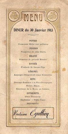 Menu de dîner du 30 janvier 1913