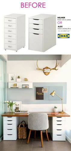 Smart and Gorgeous IKEA Hacks: save time and money with functional designs and beautiful transformations. Great ideas for every room such as IKEA hack bed, desk, dressers, kitchen islands, and more! - A Piece of Rainbow Smart and Gorgeous IKEA Ha Ikea Hacks, Diy Hacks, Ikea Hack Desk, Ikea Office Hack, Ikea Desk Storage, Ikea Home Office, Study Desk Ikea, Ikea Workspace, Ikea Hack Kids