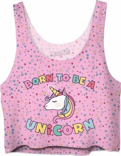 Cute 'Born To Be A Unicorn' Crop Top on a pink background with coloful stars.