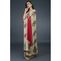 Pre-Order Red-Fawn Floral Parsi Gara Saree Pure Georgette Sarees, Crepe Saree, Silk Sarees, Embroidery Saree, Indian Heritage, Red Blouses, Red Fabric, Sarees Online, Pure Products