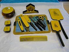 Large Vintage Art Deco Black and Yellow Vanity Dresser Set Many Pieces Vintage Black, Vintage Art, Art Deco Vanity, Mirror Nails, Vintage Mirrors, Dresser Sets, Nail Tools, Vanity Set, Black N Yellow
