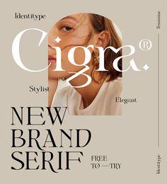 Cigra - Elegant Display Font – Free Design Resources Typeface Font, Typography Fonts, Typography Design, Branding Design, Logo Design, Layout Design, Graphic Design Brochure, Graphic Design Fonts, Graphic Design Illustration