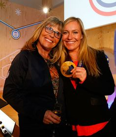 Jamie Anderson celebrates her gold medal with her mom Lauren Anderson and family at the P&G Family Home .2014 Getty Images