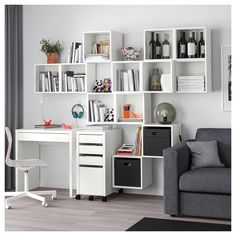 IKEA's EKET Series is the ultimate in fun, friendly and functional storage furniture featuring customizable cabinets, shelves, combinations and more. Ikea Eket, Ikea Wall, Ikea Desk, Wall Mounted Bookshelves, Wall Storage, New Furniture, Home Furnishings, Shelving, Cabinet