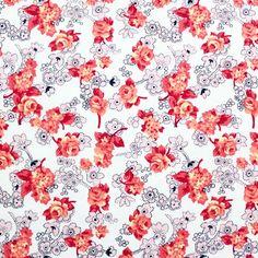 Orange Pink Rose Floral Sweatshirt Knit