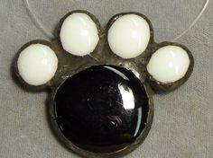 catt paw dog paw black and white Sun catcher stained glass ornament #handmade