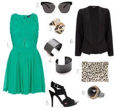 Spring Fever - emerald dress, black heels, retro sunglasses, diamond bracelet, black ring, leopard clutch, silver cuffs, black blazer
