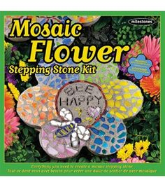 Mosaic Flower Stepping Stone Kit // Fun DIY Crafting for Kids this Summer