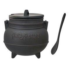 Harry Potter Black Cauldron Ceramic Soup Mug with Spoon - Monogram - Harry Potter - Mugs at Entertainment Earth