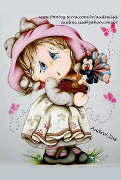 Cute print of girl Tole Painting, Fabric Painting, Painting & Drawing, Meninos Country, Coloring Books, Coloring Pages, Country Paintings, Tatty Teddy, Copics