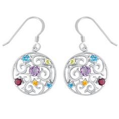 Rainbow of Color Circle Earrings for Teen Girls with Gemstones