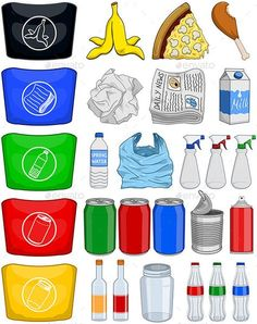 Vector illustration pack of organic paper plastic aluminium and glass items for recycling. Vector illustration pack of organic paper plastic aluminium and glass items for recycling. Recycling For Kids, Recycling Bins, Recycling Activities For Kids, Earth Day Activities, Preschool Activities, Organic Molecules, Recycle Symbol, Earth Day Crafts, Organic Nails
