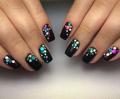 Beautiful black nails with dots.