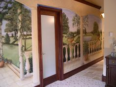trompe l' oeil painted down hallway
