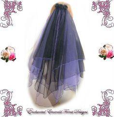 Black & Purple Gothic Wedding Veil
