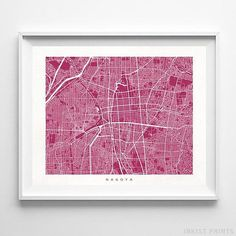 Nagoya, Japan Street Map Wall Art Poster - 70 Color Options - Prices from $9.95 - Click Photo for Details - #streetmap #map #homedecor #wallart #Nagoya #Japan