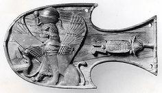 Horse blinker with a seated sphinx wearing a uraeus and sun-disk headdress.ca.8th century B.C. Mesopotamia, Nimrud (ancient Kalhu) . The Metropolitan Museum of Art.