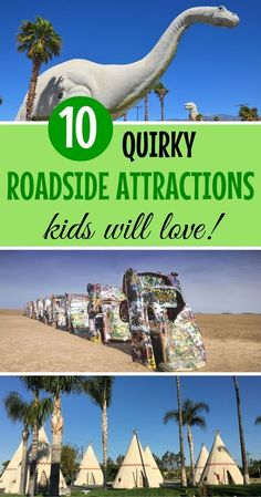 Love visiting wacky roadside attractions when taking a road trip on America's highways and byways? Here are 10 of the craziest roadside stops across the USA that kids are sure to love on your next family vacation. #roadtripliving #ParkUsaroadtrips