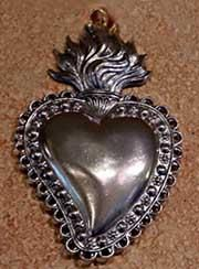 Pewter Sacred Heart Milagro 3×1 3/4 inches $19.00
