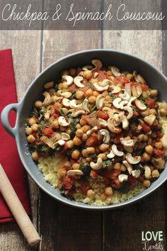 garbanzos vegetariana y cuscús espinacas
