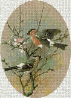 Птицы на ветке-Схема вышивки крестом